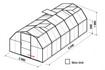 Skleník BA1-5m-zasklení B