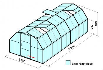 Skleník BA1-5m-zasklení D