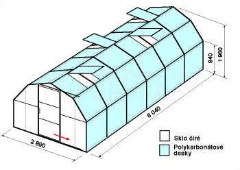 Skleník BA1-6m-zasklení A