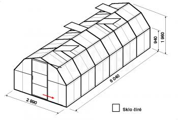Skleník BA1-6 m-zasklení B