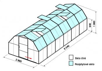 Skleník BA1-6 m-zasklení C