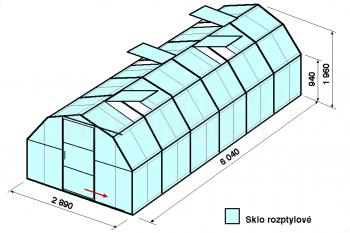 Skleník BA1-6 m-zasklení D