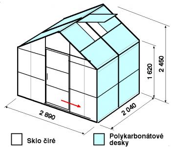 Skleník GA1-2m-zasklení A