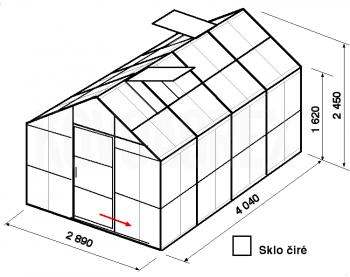 Skleník GA1-4m-zasklení B