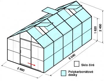 Skleník GA1-5m-zasklení A - cena včetně montáže