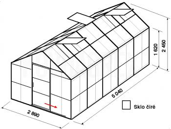 Skleník GA1-5m-zasklení B - cena včetně montáže