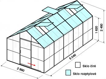 Skleník GA1-5m-zasklení C