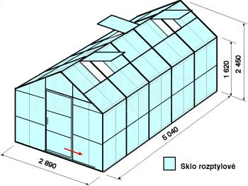 Skleník GA1-5m-zasklení D
