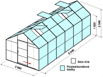 Skleník GA1-6m-zasklení A - cena včetně montáže