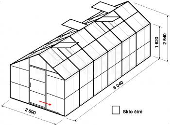 Skleník GA1-6m-zasklení B