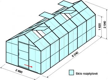Skleník GA1-6m-zasklení D