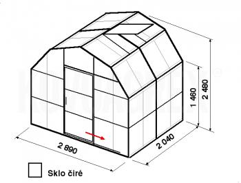 Skleník VA1-2m-zasklení B