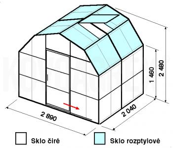 Skleník VA1-2m-zasklení C