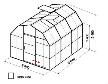 Skleník VA1-3m-zasklení B