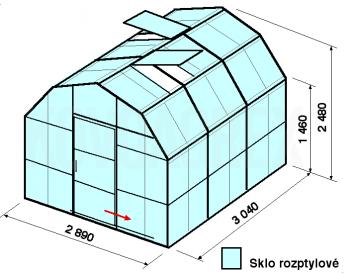 Skleník VA1-3m-zasklení D