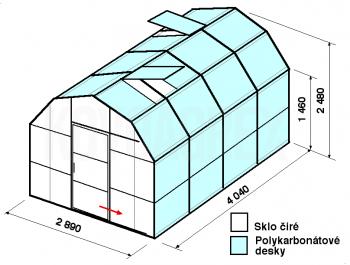 Skleník VA1-4m-zasklení A