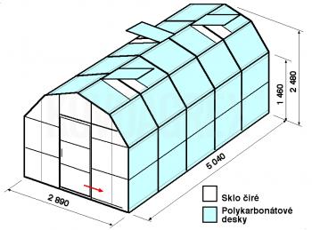Skleník VA1-5m-zasklení A
