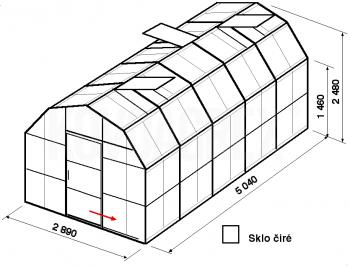 Skleník VA1-5m-zasklení B