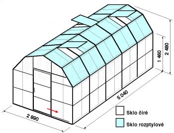 Skleník VA1-5m-zasklení C