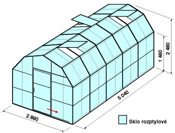 Skleník VA1-5m-zasklení D