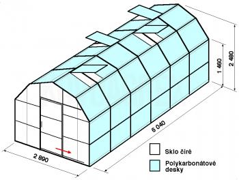 Skleník VA1-6m-zasklení A