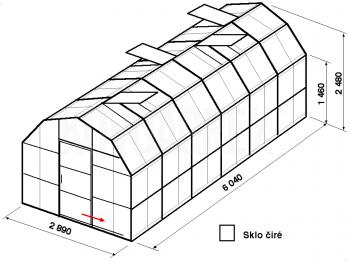 Skleník VA1-6m-zasklení B