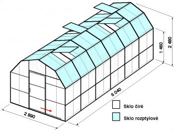 Skleník VA1-6m-zasklení C