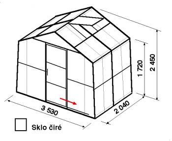 Skleník SA2-2m-zasklení B