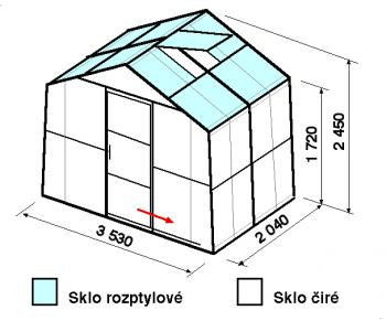 Skleník SA2-2m-zasklení C