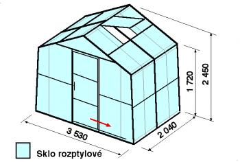 Skleník SA2-2m-zasklení D