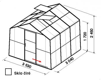 Skleník SA2-3m-zasklení B