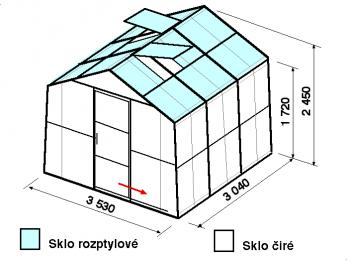 Skleník SA2-3m-zasklení C