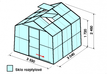 Skleník SA2-3m-zasklení D