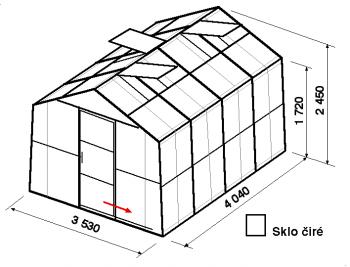 Skleník SA2-4m-zasklení B