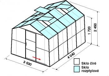 Skleník SA2-4m-zasklení C