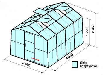 Skleník SA2-4m-zasklení D