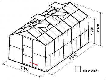 Skleník SA2-5m-zasklení B