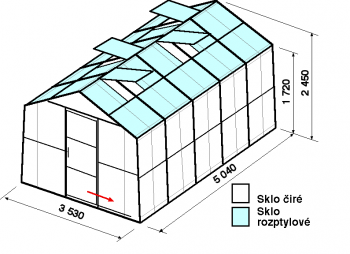 Skleník SA2-5m-zasklení C