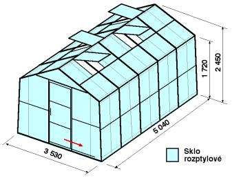 Skleník SA2-5m-zasklení D