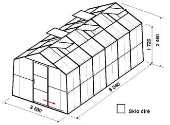 Skleník SA2-6m-zasklení B