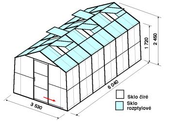 Skleník SA2-6m-zasklení C