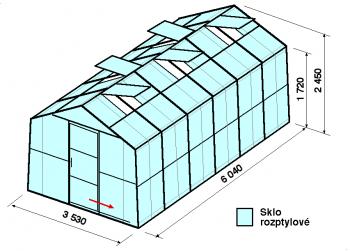 Skleník SA2-6m-zasklení D