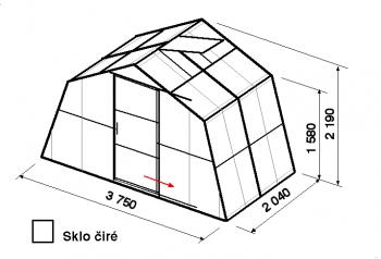 Skleník SA1-2m-zasklení B