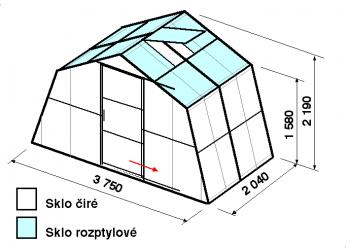 Skleník SA1-2m-zasklení C