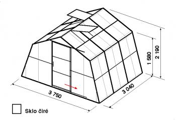 Skleník SA1-3m-zasklení B