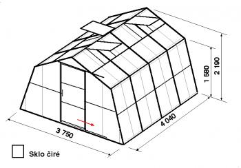 Skleník SA1-4m-zasklení B