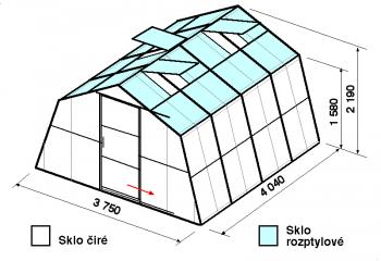 Skleník SA1-4m-zasklení C