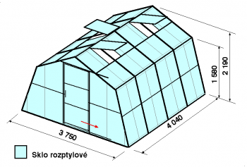 Skleník SA1-4m-zasklení D