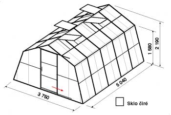 Skleník SA1-5m-zasklení B