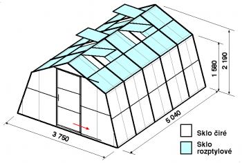 Skleník SA1-5m-zasklení C